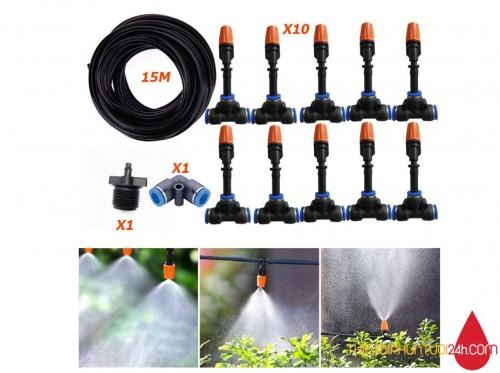 Trọn bộ phun sương 12 béc cho vườn cây, vườn rau, vườn lan không cần máy bơm