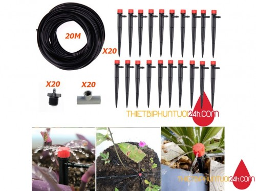 Trọn bộ tưới nhỏ giọt 20 béc cho vườn cây, vườn rau dòng cao cấp tiết kiệm nước