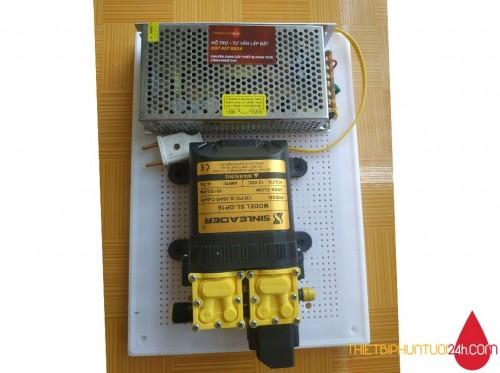 Combo máy bơm tăng áp 12v Sinleader mini đôi kèm nguồn chuyển ráp sẵn trên bảng điện